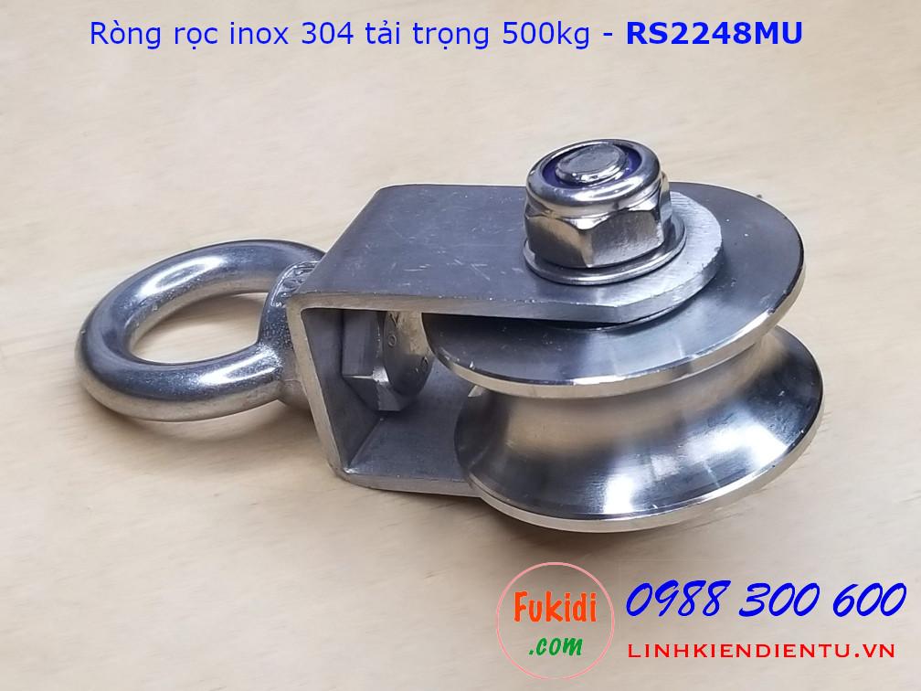 Ròng rọc inox 304 rãnh U bánh xe bi 22x48mm dài 107mm tải trọng 500kg - RS2248MU