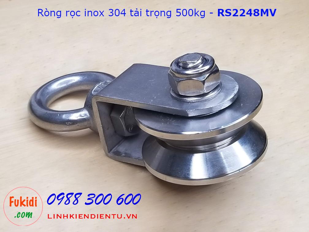 Ròng rọc inox 304 rãnh V bánh xe bi 22x48mm dài 107mm tải trọng 500kg - RS2248MV