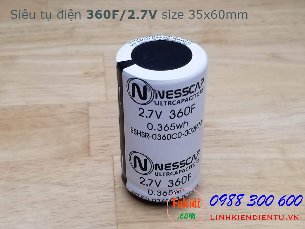 Siêu tụ điện - tụ dung lượng cao 360F/2.7V, size 35x60mm NESSCAP