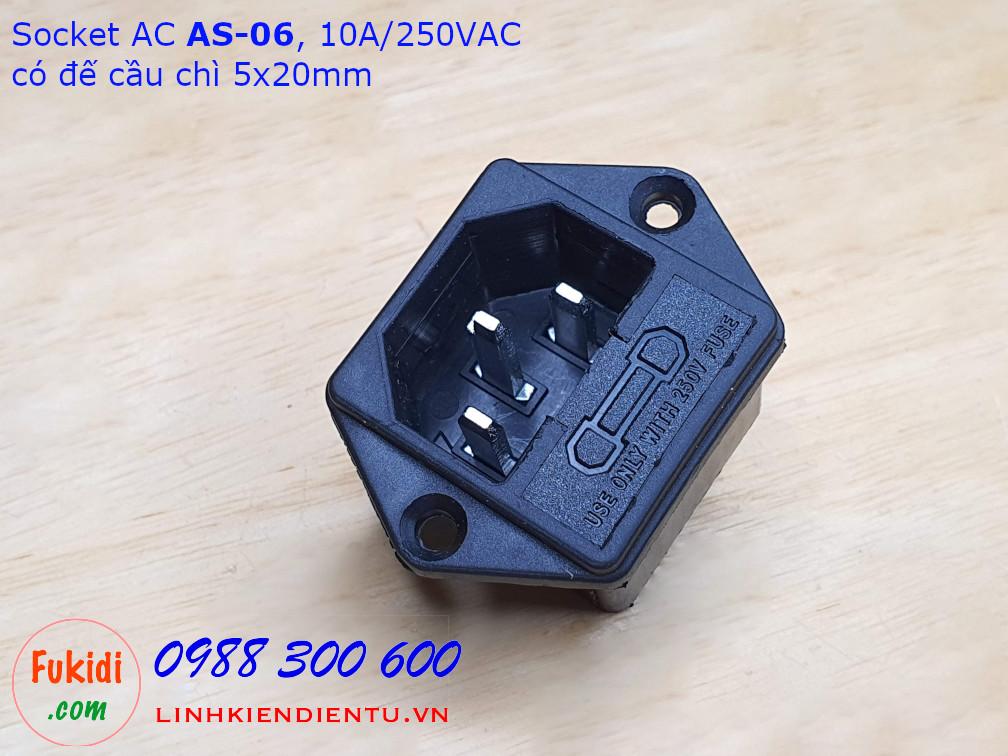 Socket cắm nguồn AC AS-06 10A/250VAC kèm đế cầu chì 5x20mm