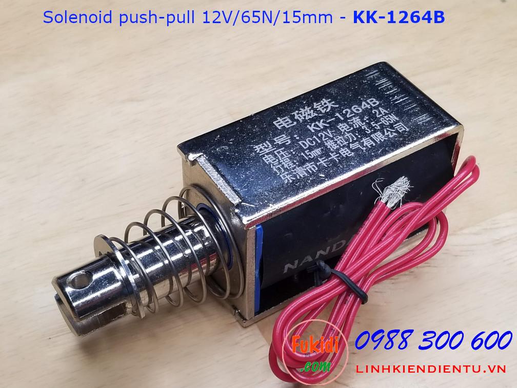 Chốt nam châm điện kéo đẩy 2A/12V lực kéo 65N hành trình 15mm KK-1264B