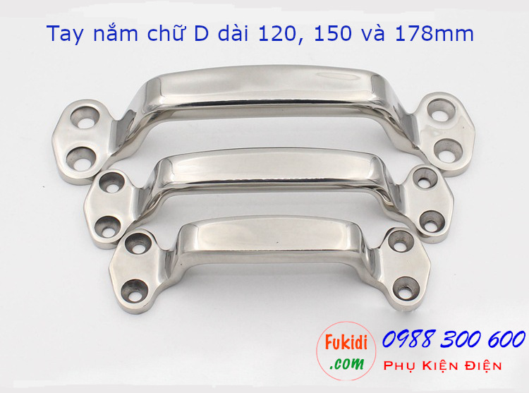 Tay nắm chữ D inox 304 chiều dài 150mm - LS209-150