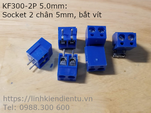 KF300-2P-5.0mm  Terminal Block Screw - Socket hai chân 5.0mm, bắt vít