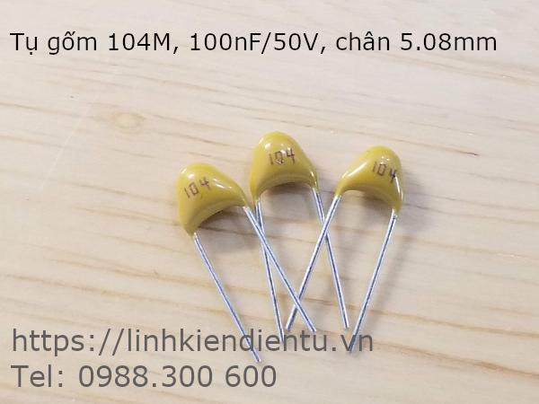 Tụ gốm 104M 100nF/50V, chân 5.08mm