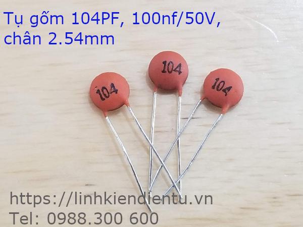 Tụ gốm 104PF 100nF/50V, chân 2.54mm