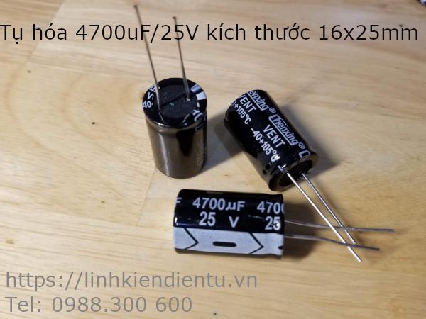 Tụ hóa 25V4700UF 4700uF 25V kích thước 16x25mm