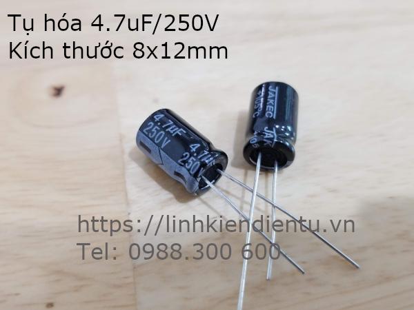 Tụ hóa 4.7uF 250V kích thước 8x12mm