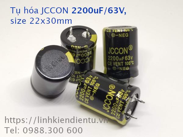 Tụ hóa JCCON 2200uF/63V size 22x30mm chân cứng