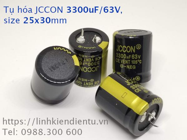 Tụ hóa JCCON 3300uF/63V size 25x30mm chân cứng