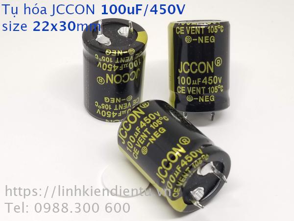 Tụ hóa JCCON 450v100uf 100uF/450V size 22x30mm chân cứng