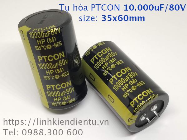 Tụ hóa PTCON 80v10000uf 10.000uF/80V size 35x60mm, chân cứng