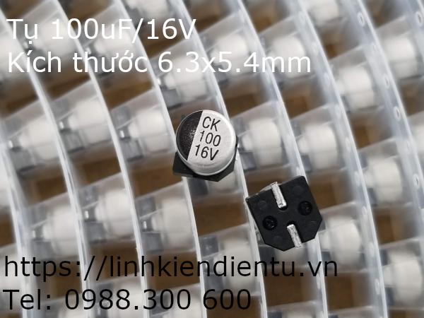 Tụ vỏ nhôm SMD 100uF/16V, kích thước 6.3x5.4mm