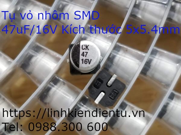 Tụ vỏ nhôm SMD 47uF 16V, 5x5.4mm