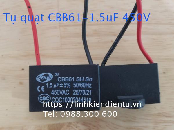 Tụ CBB61 1.5uF 450V - (dùng trong động cơ điện, quạt điện)