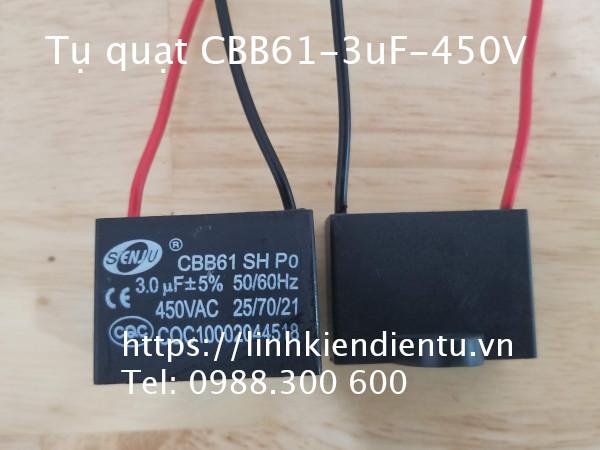 Tụ CBB61 3.0uF 450V - (dùng trong động cơ điện, quạt điện)