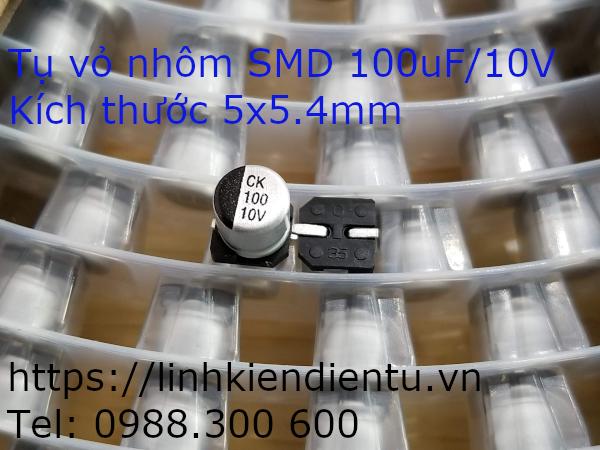 Tụ vỏ nhôm SMD 100uF/10V, kích thước 5x5.4mm