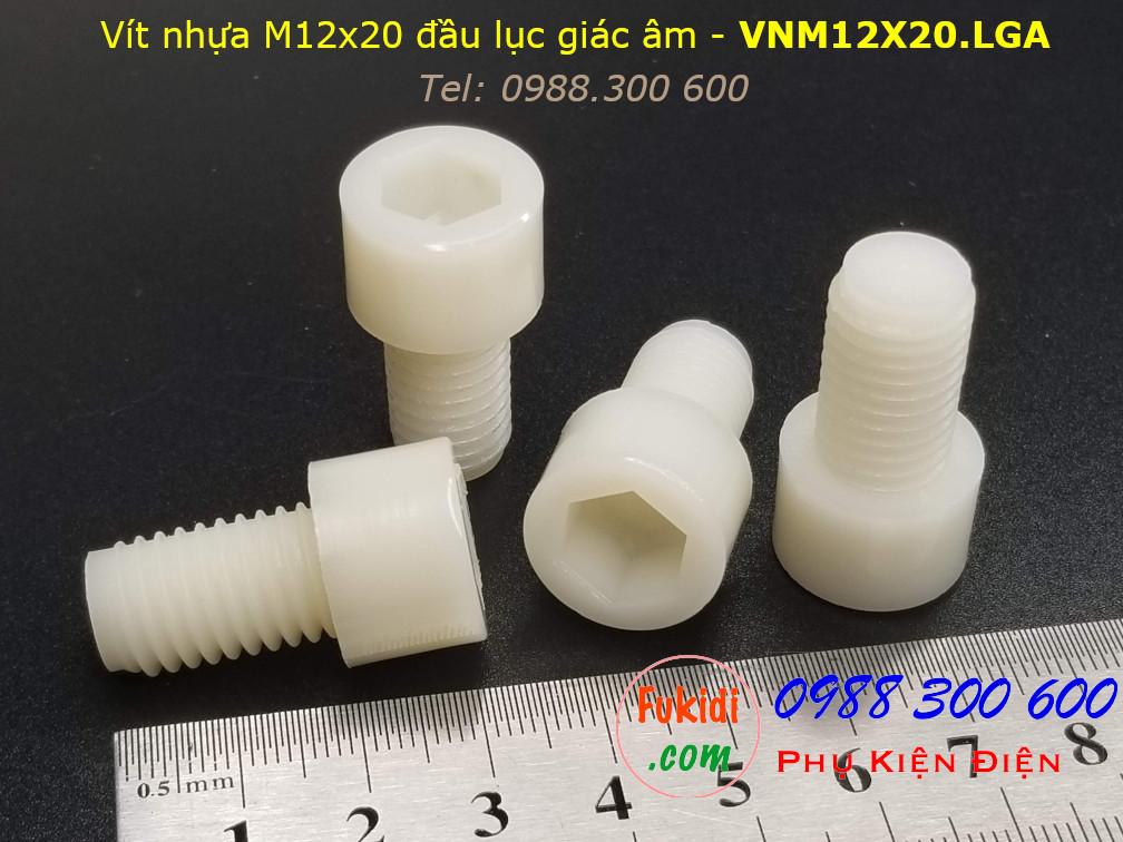 Vít nhựa M12 đầu lục giác âm M12x20 màu trắng - VNM12X20.LGA