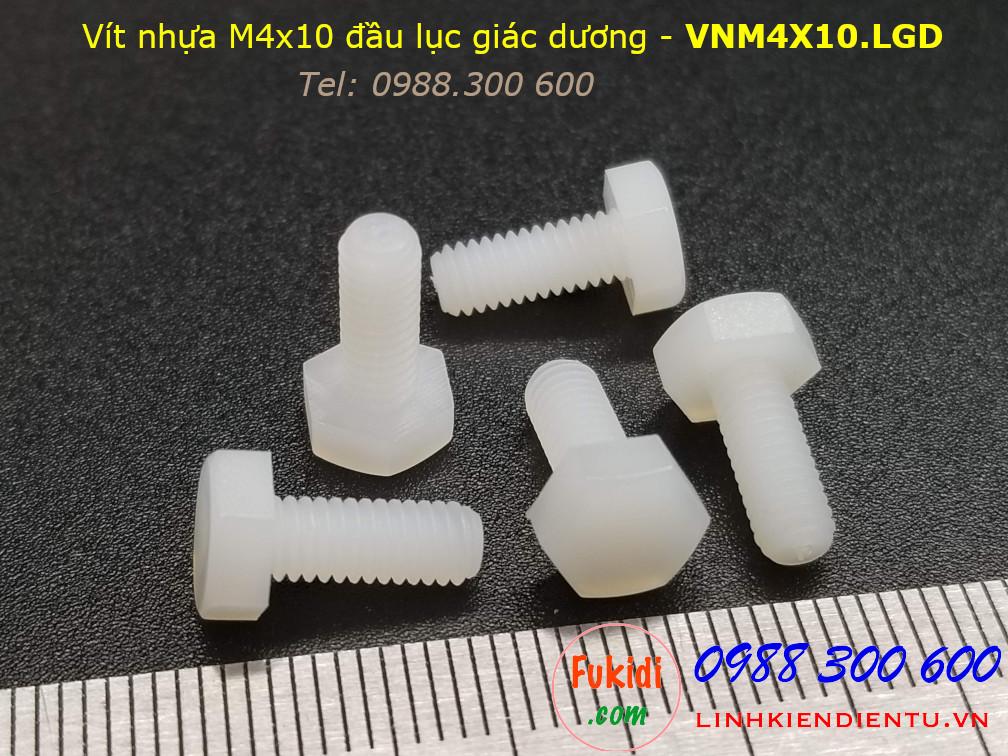Vít nhựa M4 đầu lục giác dương dài 10mm M4x10 màu trắng - VNM4x10.LGD