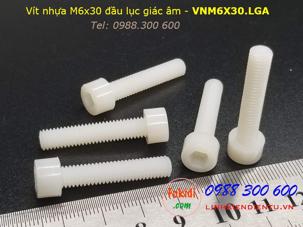 Vít nhựa M6 đầu lục giác âm M6x30 màu trắng - VNM6X30.LGA