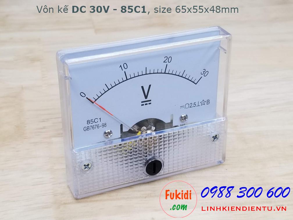 Vôn kế DC 30V 85C1 tầm đo 0-30V, kích thước 65x55x48mm