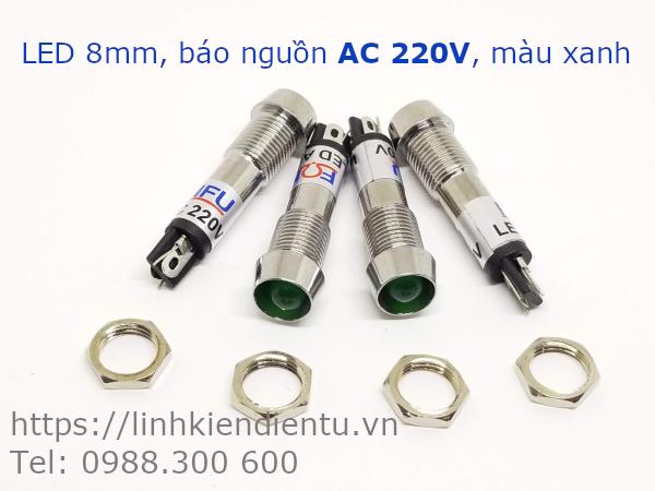 XD8-1 đèn LED báo nguồn 220V AC, 8mm màu xanh lá - XD8220G