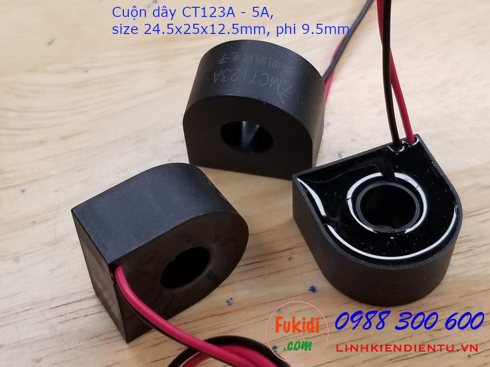 Cuộn dây cảm biến dòng ZMCT123A 5A size 24.5x25x12.5mm, phi 9.5mm