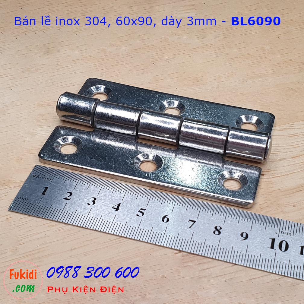Bản lề inox 304 kích thước 60x90, dày 3mm - BL6090