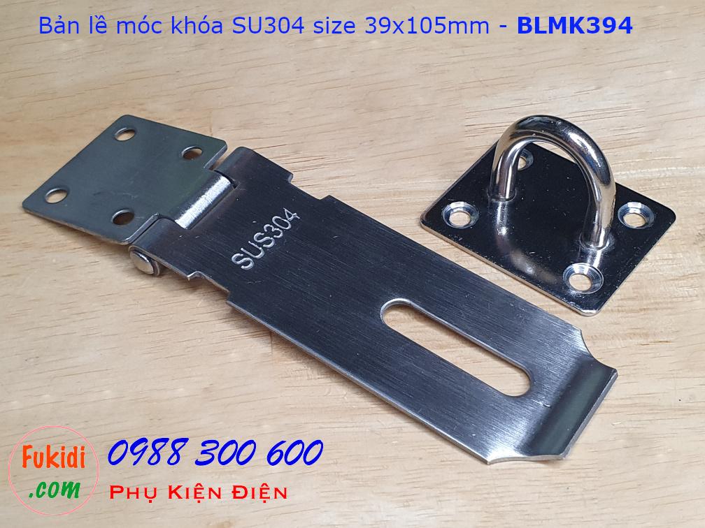 Bản lề móc khóa inox 304, size 86x105, dày 2mm - BLMK394