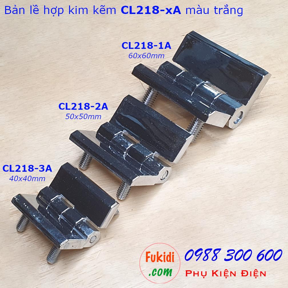 Bản lề hợp kim kẽm CL218-3A, 40x40, dày 5mm gắn sẵn đinh ốc 5mm dài 12mm màu đen CL218-3AB