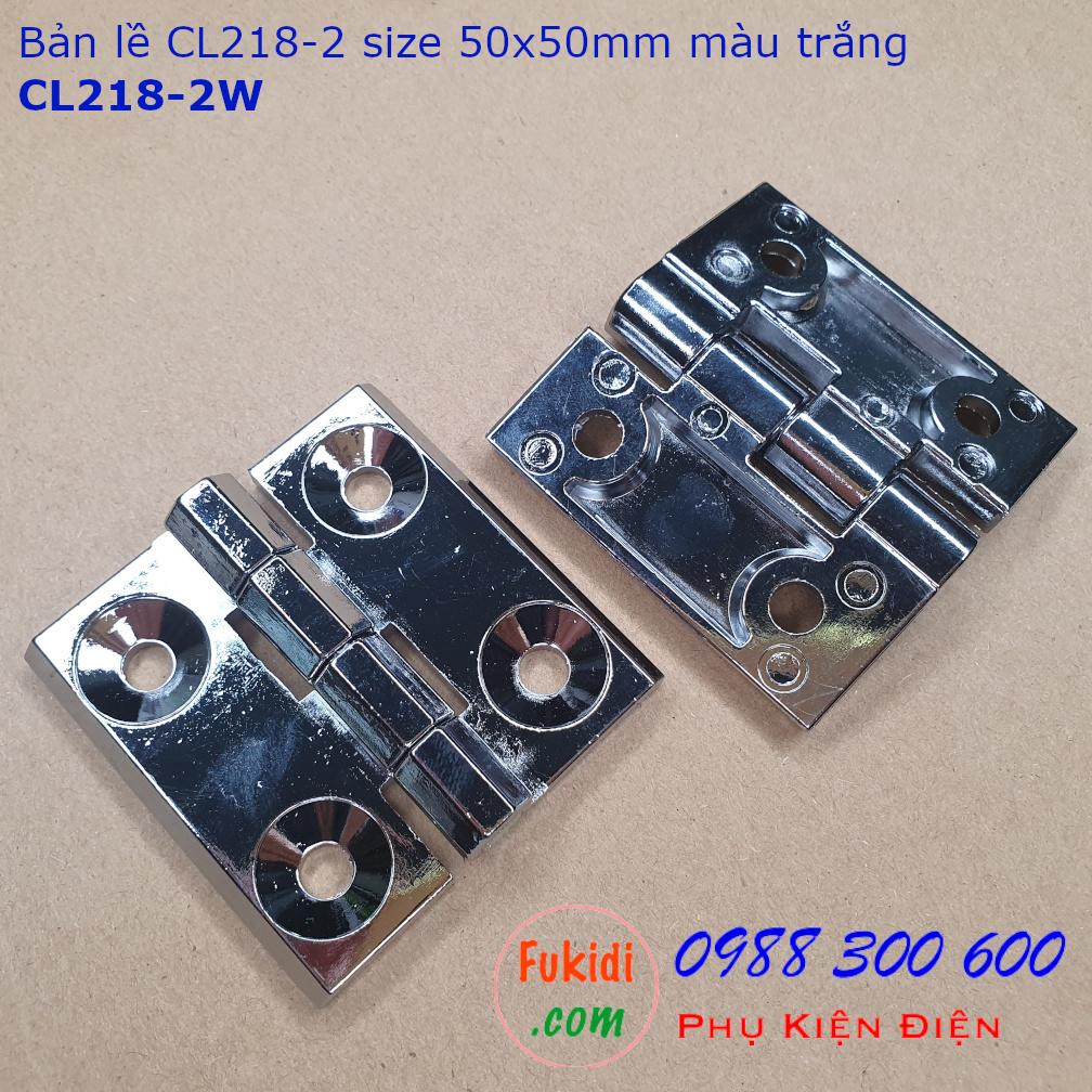 Bản lề hợp kim kẽm CL218-1W 60x60mm, dày 6mm, khoảng cách vít 35mm màu trắng
