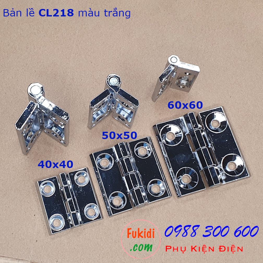 Bản lề hợp kim kẽm CL218-2W 50x50mm, dày 5.5mm, khoảng cách vít 30mm màu trắng