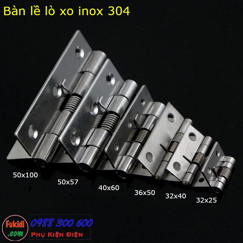 Sáu loại bản lề lò xo inox 304 model BLX3225, BLX3240, BLX4060, BLX5075 và BLX50100