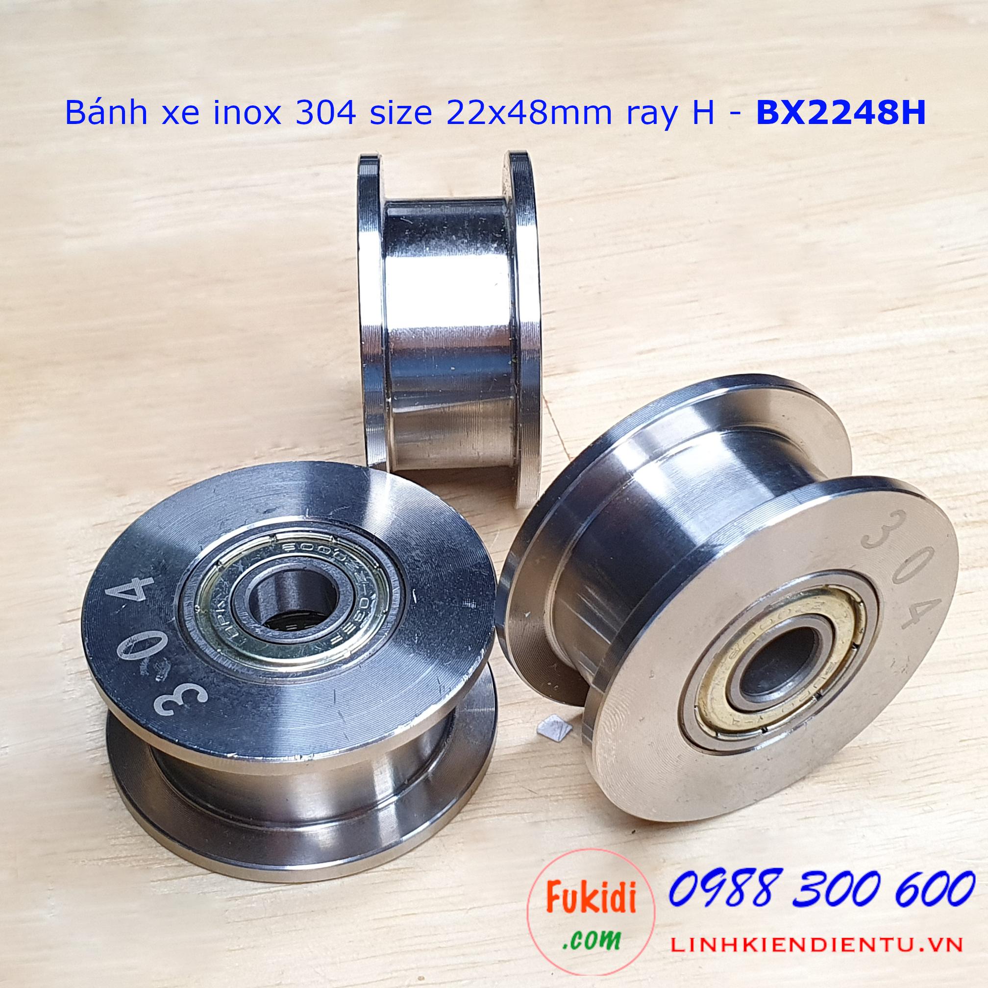 Bánh xe cửa cổng lùa inox 304 ray H size 22x48mm BX2248H