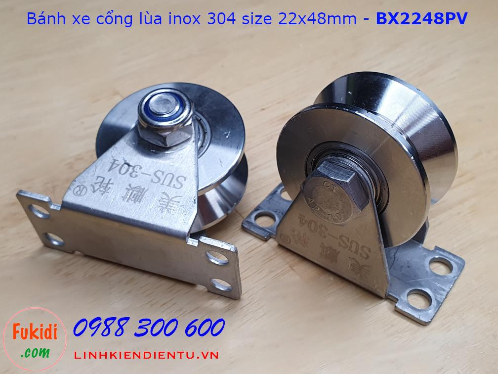 Bánh xe cửa cổng lùa inox 304 có đế treo ray V size 22x48mm BX2248PV