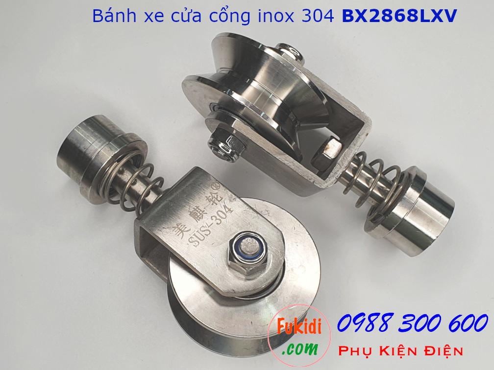 Bánh xe cửa cổng xoay 360 độ, inox 304 ray U size 28x68mm BX2868LXV