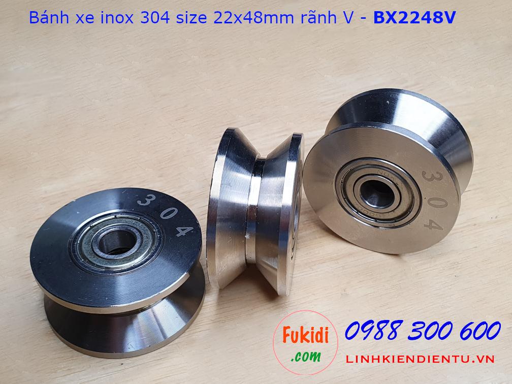 Bánh xe cửa cổng lùa inox 304 ray U size 22x48mm BX2248U