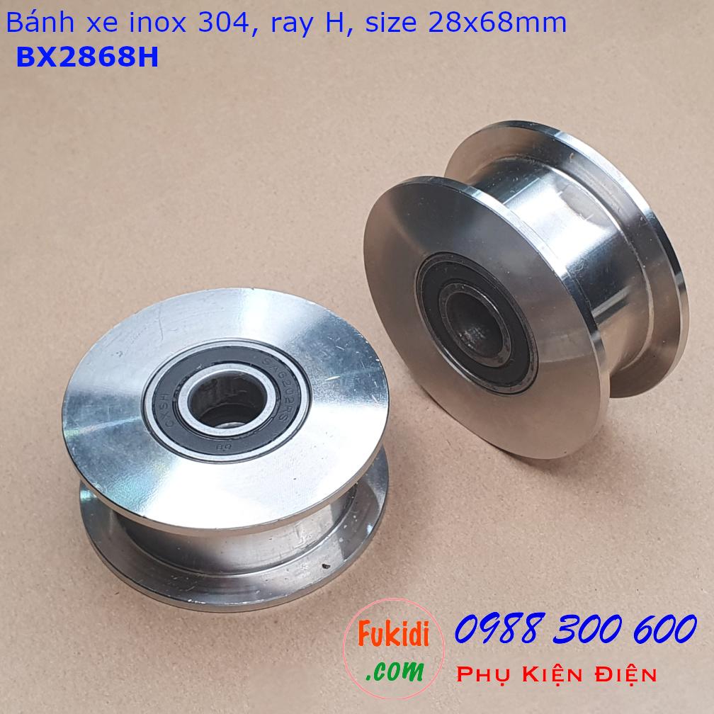 Bánh xe inox 304 dùng cho cửa cổng size 28x68mm ray vuông 22mm - BX2868H