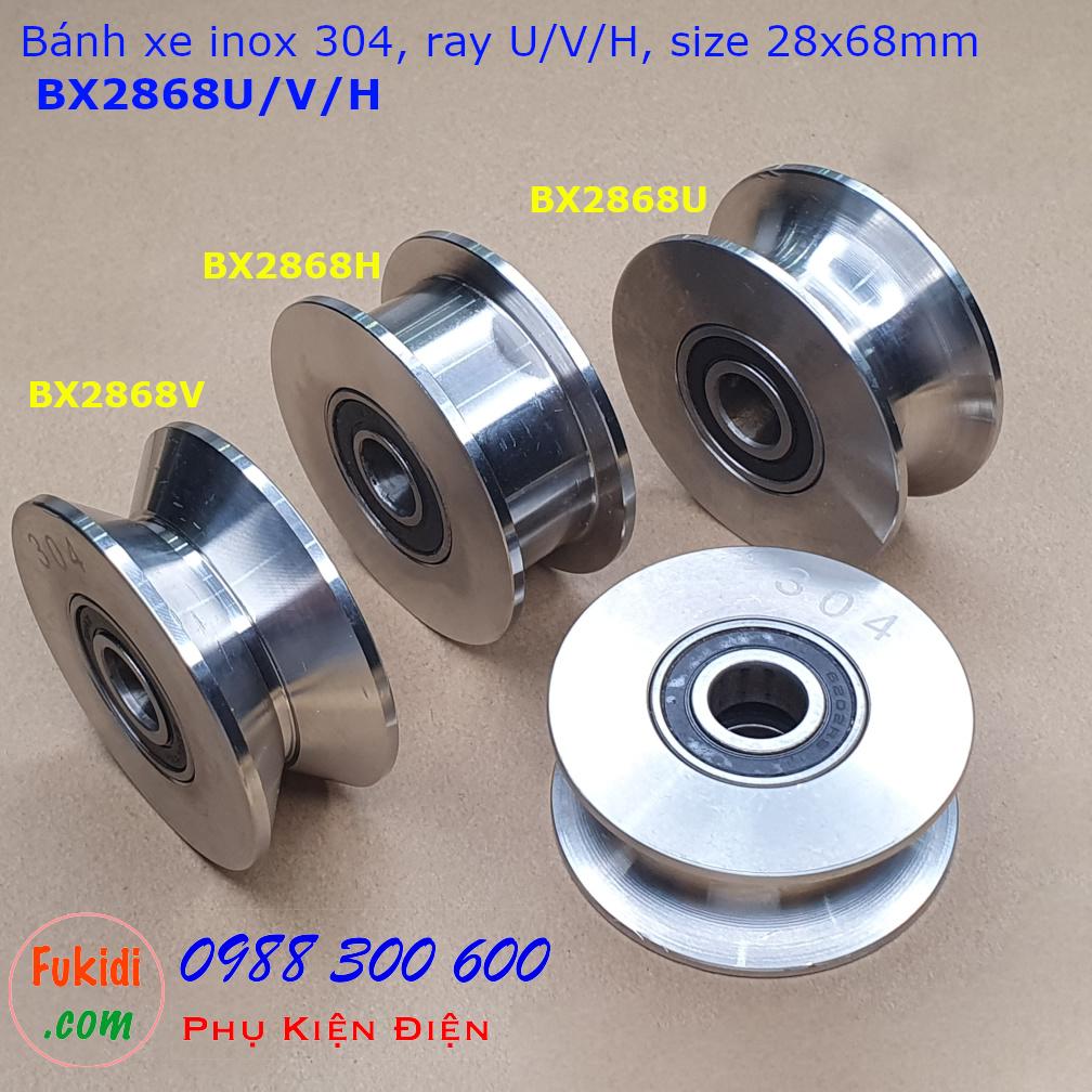 Ba loại bánh xe có cùng kích thước là 28x68mm nhưng khác rãnh là U, V và H