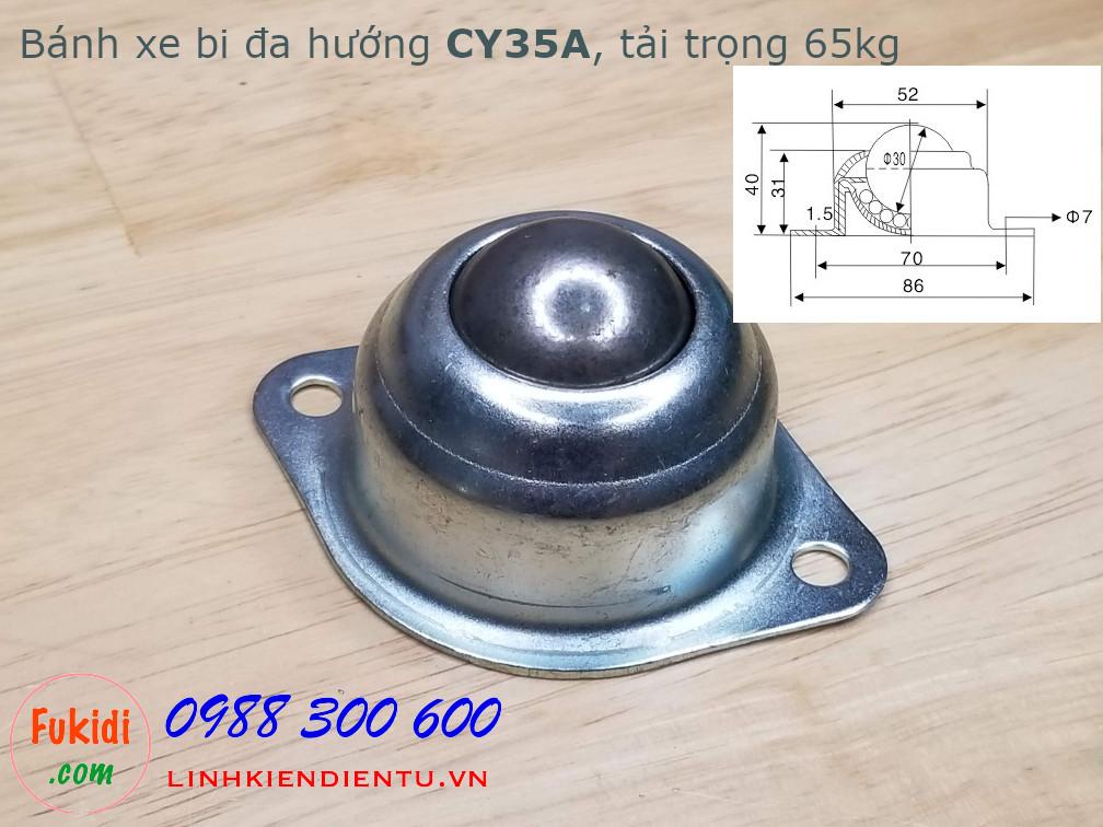 Bánh xe dẫn động đa hướng dạng bi tròn bằng thép, phi 35mm, tải trọng 65kg -CY35A