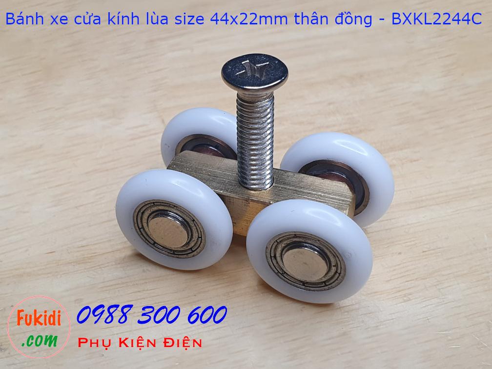 Bánh xe cửa kính lùa chất liệu đồng size 22x44mm - BXKL2244C