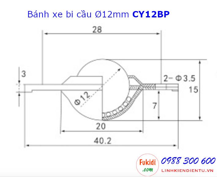 Bánh xe bi cầu nhựa, Ø12mm CY-12B, size 40x15mm tải trọng 8kg - CY12BP