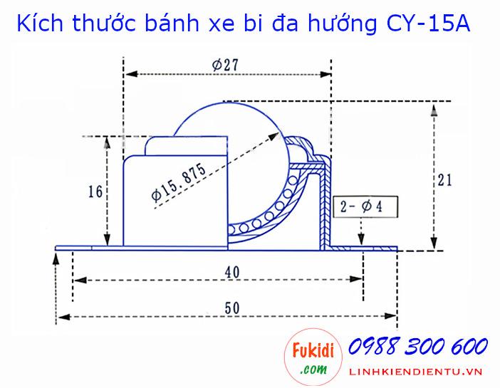Bản vẽ chi tiết của bánh xe bi cầu đa hướng CY-15A bi nylon phi 15mm - CY15AP