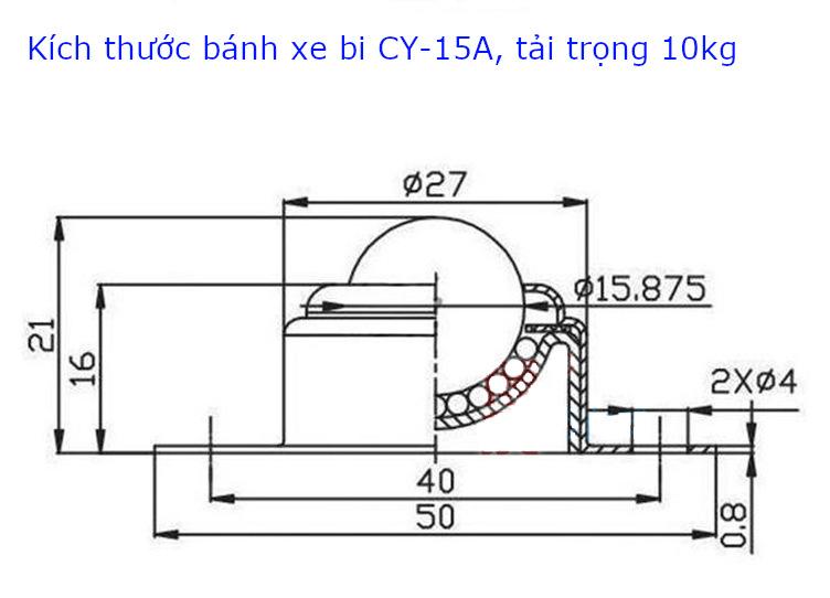 Chi tiết kích thước của bánh xe bi đa hướng CY-15A