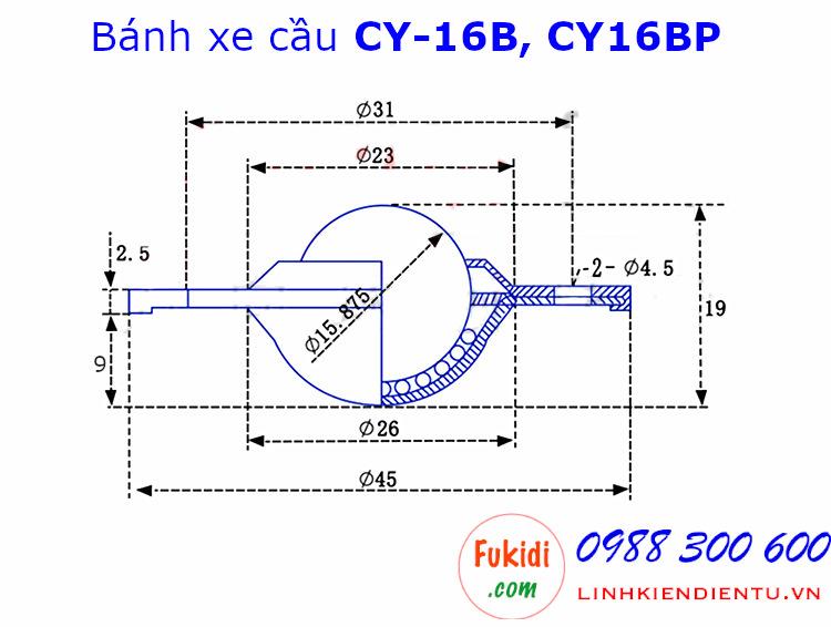 Bánh xe bi cầu nhựa, Ø16mm CY-16B tải trọng 15kg - CY16BP