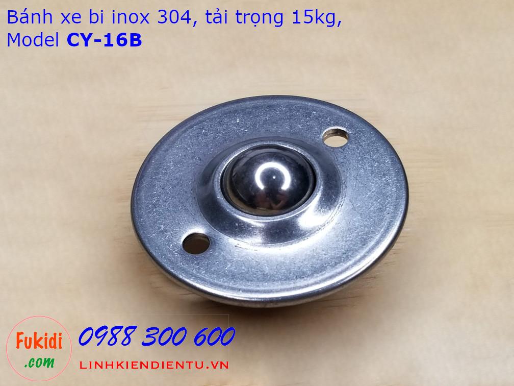 Bánh xe bi cầu inox 304, Ø16mm kích thước tròn 45x19mm tải trọng 15kg model CY-16B