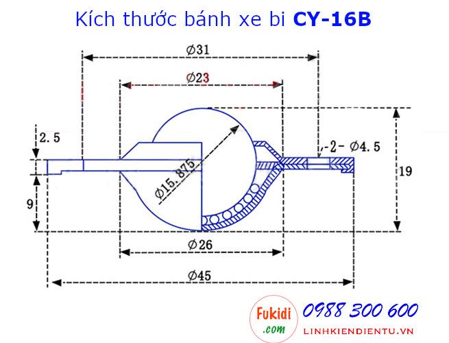 Chi tiết kích thước của bánh xe bi thép CY-16B
