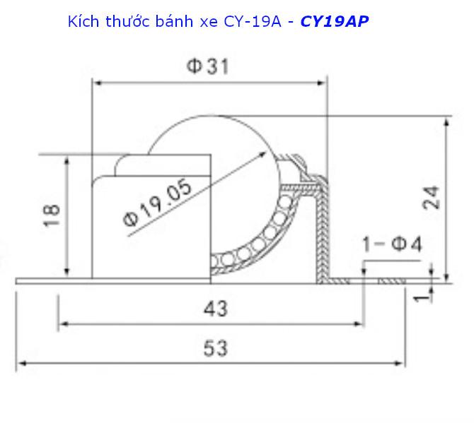 Chi tiết kích thước của bánh xe CY-19A, CY19AP