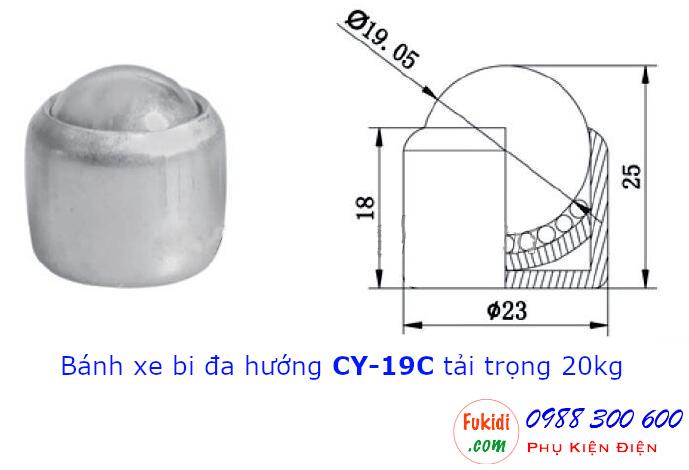 Bánh xe mắt trâu CY-19C bi thép phi 19mm, tải trọng 20kg - CY19C