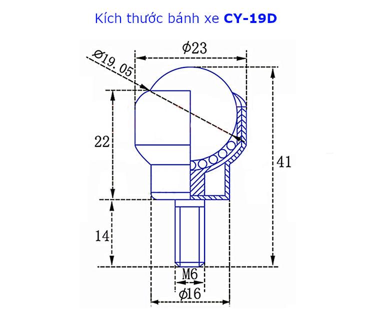 Chi tiết kích thước của bánh xe mắt trâu CY-19D