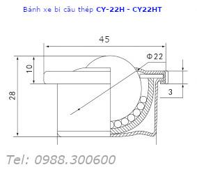 Chi tiết kích thước của bánh xe mắt trâu CY-22H